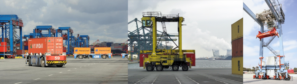 Straddle Carriers, RTG, AGV, Cranes
